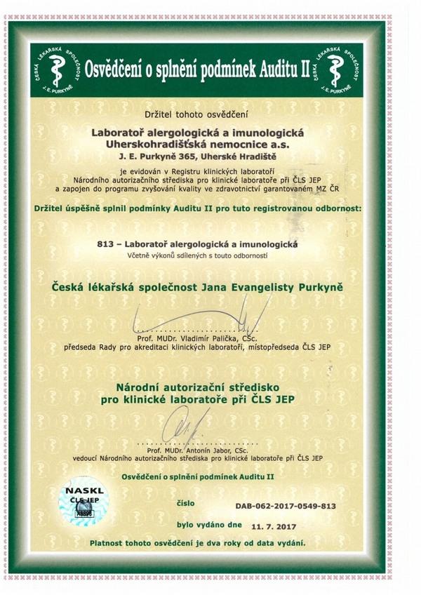 Odbornost 813 - Laboratoř alergologická a imunologická
